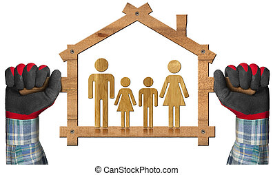 Symbolic House with a Family