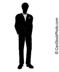 African American Man in a Tuxedo Silhouette - African...