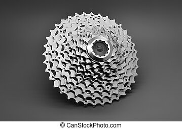 Mountain bike rear cassette on a gray background