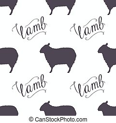Hipster style sheep seamless pattern. Lamb meat hand...