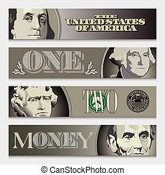 Four stylized money banners