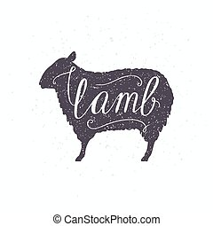 Hipster style sheep silhouette. Lamb meat hand lettering -...