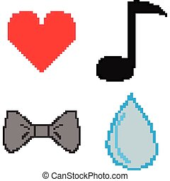 8-bit theme - Set of 8-bit icons on a white background