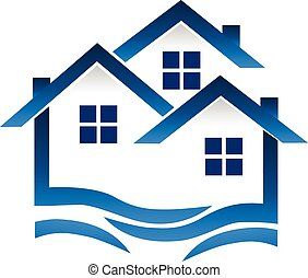 Blue houses and waves logo - Blue houses and waves real...