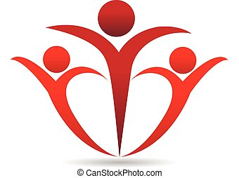 People in a hug logo - Family in heart shape concept of...