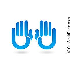 vector, de, azul, Manos, gente, logotipo,