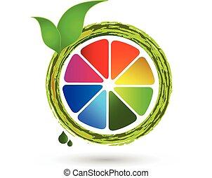 Citrus colorful fruit lemon logo