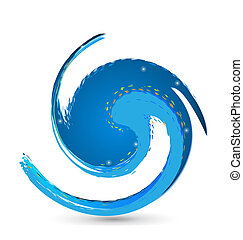 Vivid blue beach wave logo - Blue beach wave vector...