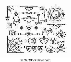Halloween mono line icons.
