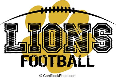 lions football team design with paw print and laces