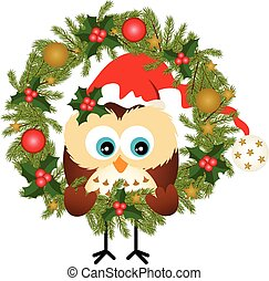 Owl sitting in a Christmas wreath