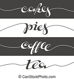 Hand written cafe poster Lettering banner, placard, postcard...