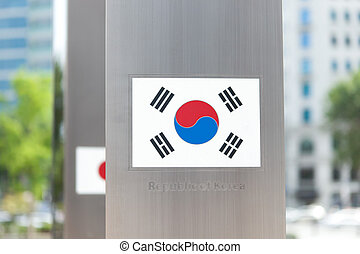 Series of national flags on pole - South Korea - National...