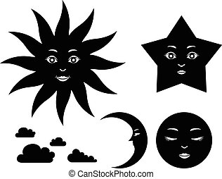 Silhouettes of celestial bodies