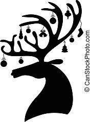 Silhouette deer head decorated baubles - Vector...
