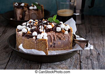 Rocky road ice cream cake with peanuts, marshmallows,...