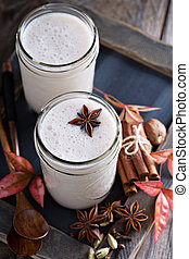 Warm frothy milk with spices - Warm frothy milk with syrup...