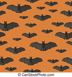 Bats pattern - Halloween seamless pattern with bats on...