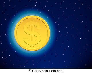 Dollar on starry sky - Gold dollar coin icon on the starry...