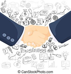 Business partnership concept icons composition poster