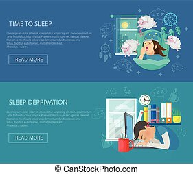 Sleep Time Banner - Sleep time horizontal banner set with...