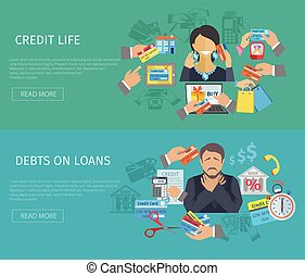 Credit Life Banner - Credit life horizontal banner set with...