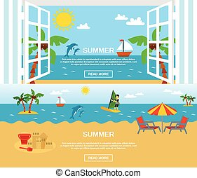 Summer And Beach Banners Set