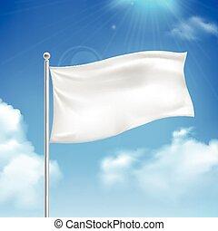 White flag blue sky background poster - White flag in the...