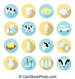 Milk flat icons set - Milk dairy production farm flat icons...