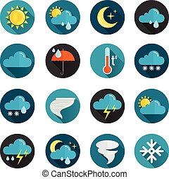 Weather Flat Icon Set - Weather conditions signs rain cloud...