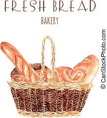 Fresh bread baker basket illustration