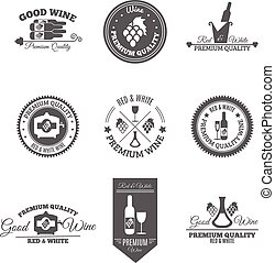 Wine Flat Labels Set - Wine premium and good quality text...