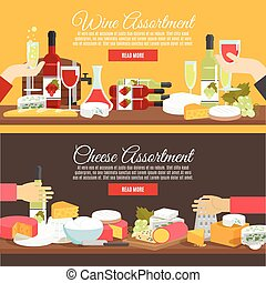 Cheese And Wine Flat Banner Set - Cheese assortment and wine...