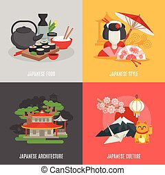 Japanese Culture Flat Icon Set - Japanese food culture...