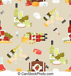 Cheese And Wine Decorative Pattern - Wine in bottles and...