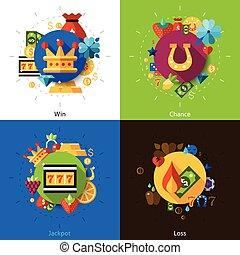 Slot machine concept icons set - Slot machine concept with...