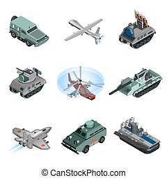 Military Equipment Isometric - Military equipment isometric...
