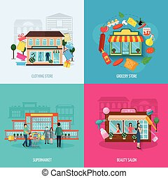 Different stores icons set - Different stores buildings such...