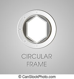 Vector metal circular frame for text. Text box. Round