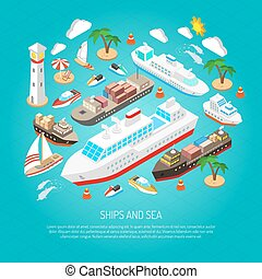 Sea and ships concept - Sea and ships with ferries cargos...