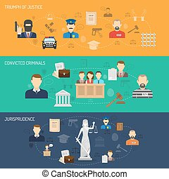 Justice horizontal banners set - Jurisprudence legal process...
