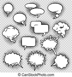 Comic speech bubbles icons collection of cloud oval...