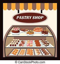 Pastry Shop Background - Pastry shop background with tasty...