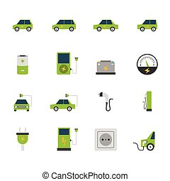 Electric Car Icon Set - Electric car bus charging station...