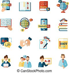 Translator Icons Set - Different languages translator and...