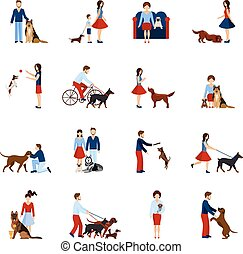 People With Dogs Set - People playing and walking with...