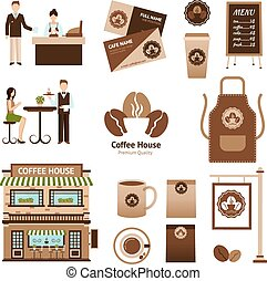 Coffee House Set - Coffee house and cafe icons set with cup...