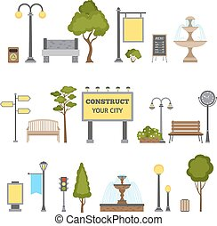 Outdoor Object Set - Outdoor and city landscape design...