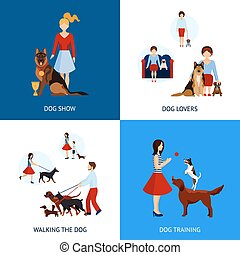 People With Dogs Set - People with dogs design concept set...