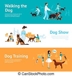 People With Dogs Banner Set - People with dogs banner set...